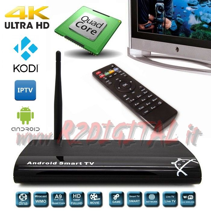 ANDROID BOX A9 UHD MEDIA PLAYER WIFI LAN TV SMART LETTORE MKV HD
