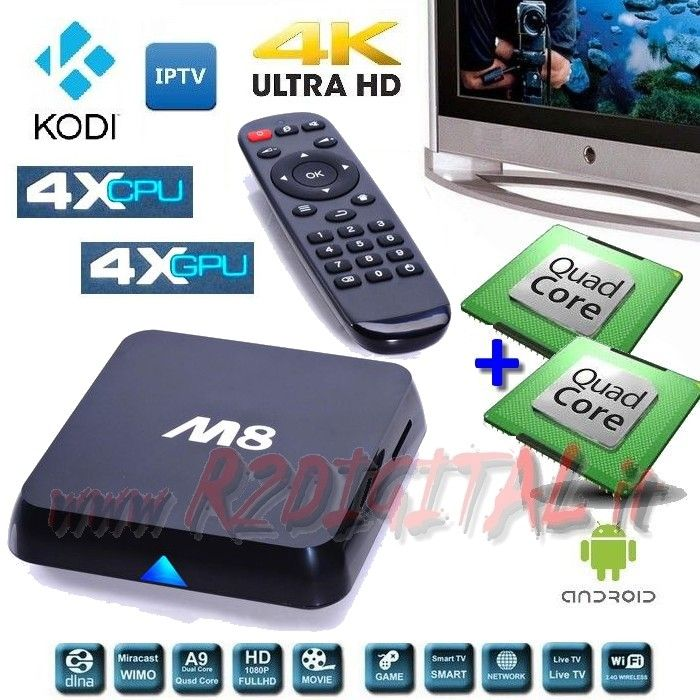 ANDROID BOX M8 UHD MEDIA PLAYER WIFI LAN TV SMART LETTORE MKV HD
