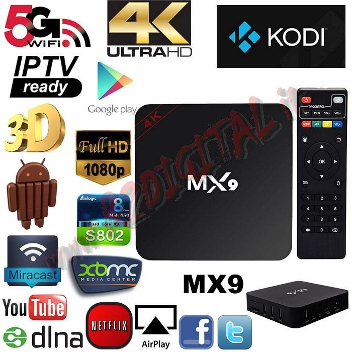 ANDROID BOX MX9 UHD MEDIA PLAY WIFI LAN TV SMART LETTORE MKV HD