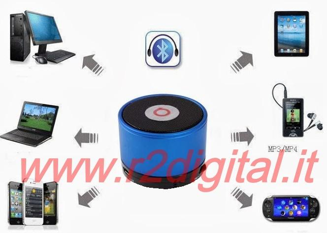 MINI ALTOPARLANTE BLUETOOTH RICARICABILE CELLULARE VIVAVOCE MP4