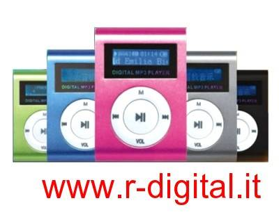 LETTORE MP3 MINI 8 GB DISPLAY LCD MEDIA PLAYER VARI COLORI USB