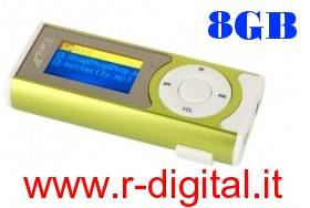 LETTORE MP3 8 GB RADIO FM TORCIA DISPLAY LCD VARI COLORI USB