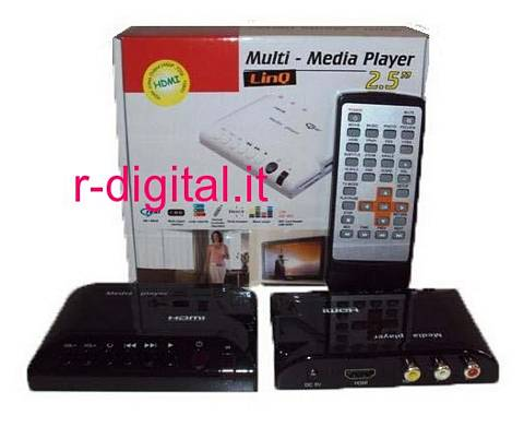 "MEDIA PLAYER 2,5"" HDMI SLOT USB HD CARD READER SD TELECOMANDO MK"