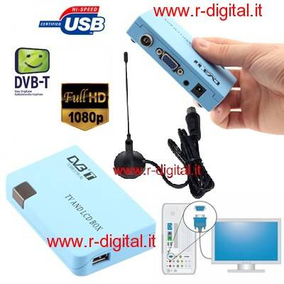 DVB-T MINI DIGITALE TERRESTRE VGA + PORTA USB PVR TV MONITOR PC