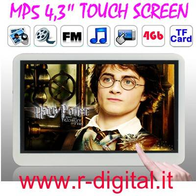 "LETTORE MP5 4.3"" TOUCH SCREEN LCD RADIO ESPANDIBILE MICRO SD"