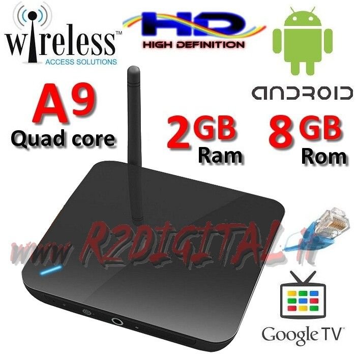 ANDROID BOX A9 HD MEDIA PLAYER WIFI LAN TV SMART LETTORE MKV DVD