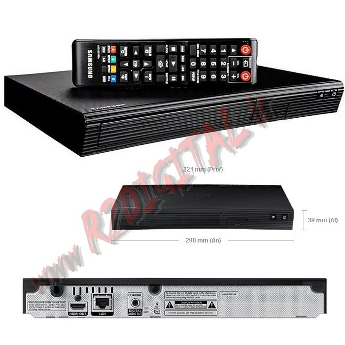 LETTORE BLURAY BD-J5500 DVD DIVX SAMSUNG HD MKV ETHERNET LAN USB