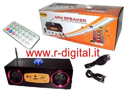 STEREO HIFI RADIO PORTATILE RICARICABILE LETTORE CARD SD USB MP3