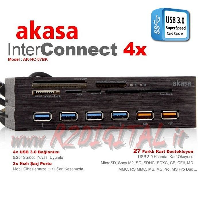 "CARD READER AKASA 5,25"" + 6 USCITE USB 3.0 CARICA 2.4A INTERNO"