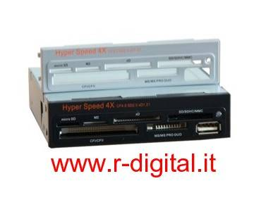 "CARD READER INTERNO 81 in 1 LETTORE SCHEDE 3.5"" con 3 MASCHERINE"