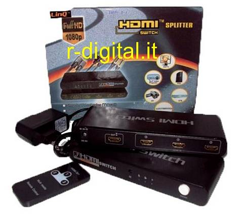 HDMI 3 PORTE SWITCH LINQ HD TV SDOPPIATORE SPLITTER MONITOR 1080