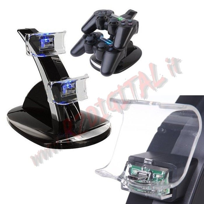 STAZIONE BASE DI RICARICA CONTROLLER PLAYSTATION PS3 USB JOYPAD