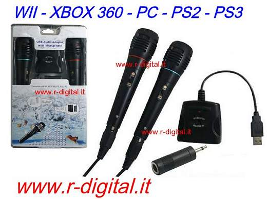 MICROFONO KARAOKE USB 2Pz 5in1 COMPUTER WII XBOX 360 PS3 PS2 PC