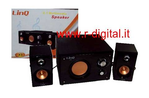 CASSE ALTOPARLANTI 2.1 NERO X3 COMPUTER PC AUDIO AMPLIFICATE