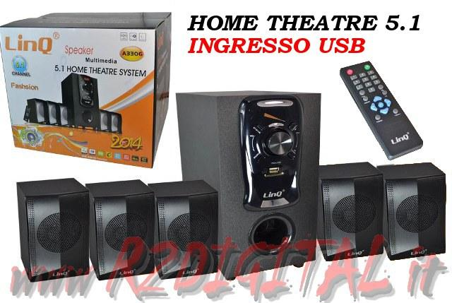 CASSE A3306 DOLBY SURROUND 5.1 USB HOME THEATER TELECOMANDO HD