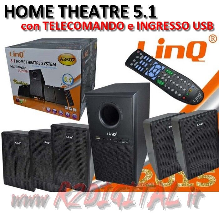 CASSE A3307 DOLBY SURROUND 5.1 USB HOME THEATER TELECOMANDO HD