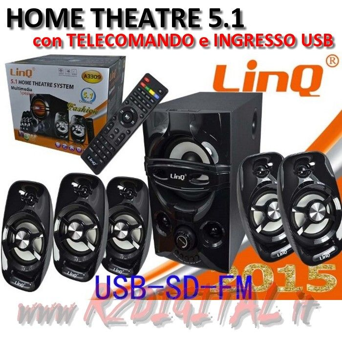 CASSE A3309 DOLBY SURROUND 5.1 USB HOME THEATER TELECOMANDO HD