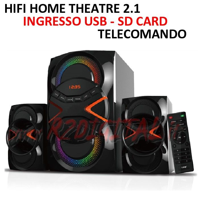 HI FI A3302 HOME THEATRE ALTOPARLANTI CASSE USB SD COMPUTER MP3