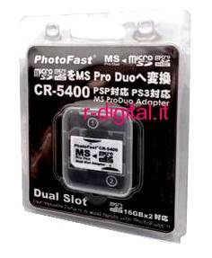 ADATTATORE 2 MICRO SD SDHC A MEMORY STICK PRO DUO PSP BLISTER