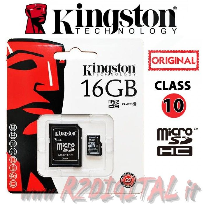 KINGSTON MICRO SD 16 GB C10 TRANSFLASH SCHEDA MEMORIA HC 16GB
