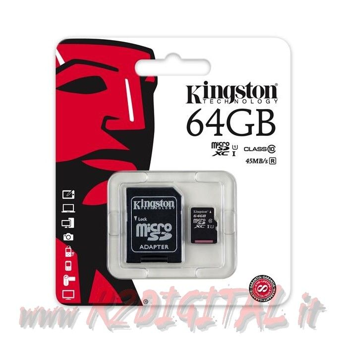 KINGSTON MICRO SD 64 GB C10 TRANSFLASH SCHEDA MEMORIA HC 64GB