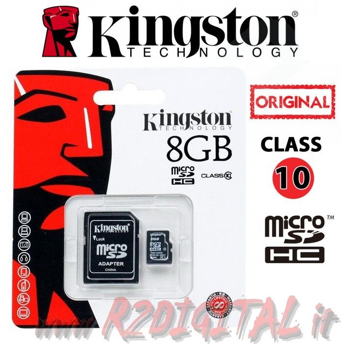 KINGSTON MICRO SD 8 GB C10 TRANSFLASH SCHEDA MEMORIA HC 8GB