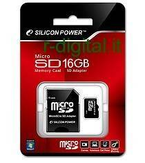 SILICON POWER MICRO SD 16 GB CLASSE 4 TRANSFLASH ADATTATORE 16GB