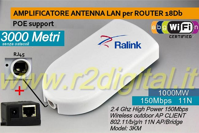 AMPLIFICATORE ANTENNA LAN ROUTER 18Db RICEVITORE LUNGA DISTANZA