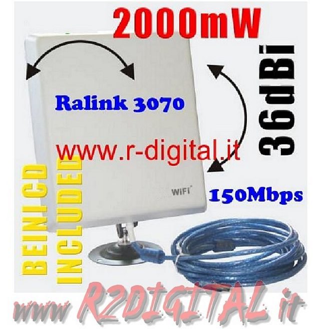 ANTENNA RICEVITORE ULTRA POTENTE 20000G WIFI N USB WIRELESS 36DB