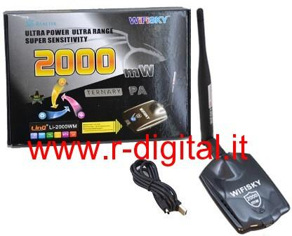 ANTENNA RICEVITORE WIFI GSKY 2000 mW USB WIRELESS REALTEK