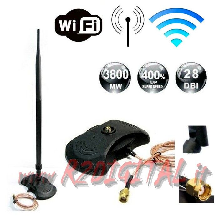 ANTENNA 300Mbts 28db SMA WIFI ROUTER 2,4gHz 43Cm BASE FORATA