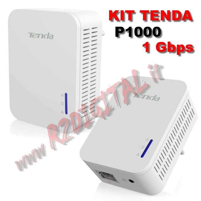 ADATTATORE TENDA P1000 KIT 2Pz POWERLINE RETE LAN ETHERNET 1000M