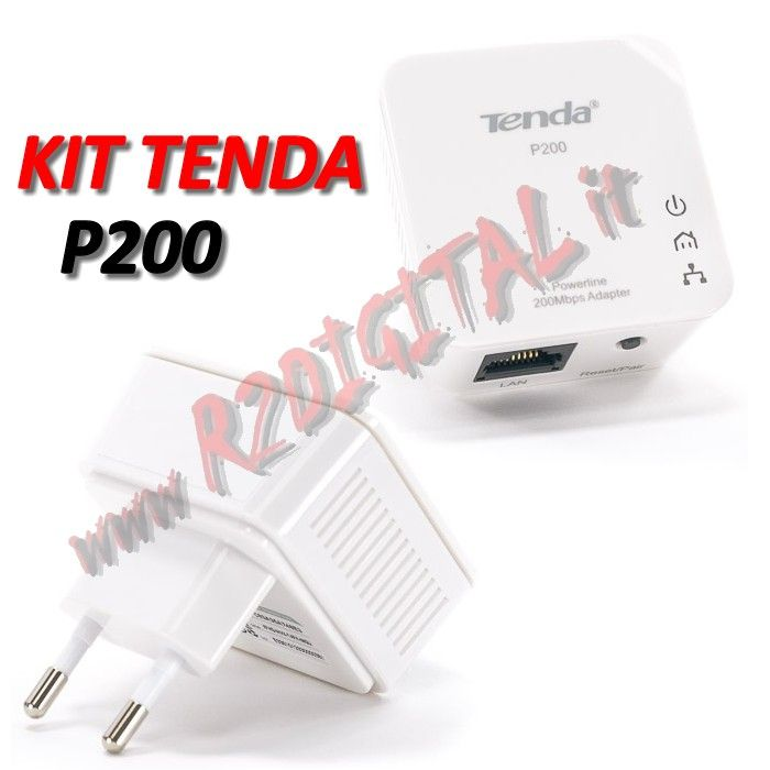 ADATTATORE TENDA P200 KIT 2 Pz POWERLINE RETE LAN ETHERNET 200Mb
