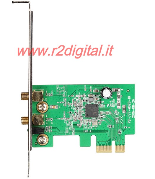 SCHEDA RETE WIFI 300 Mbts 2.4 GHz WIRELESS PCI EXPRESS 2 ANTENNE