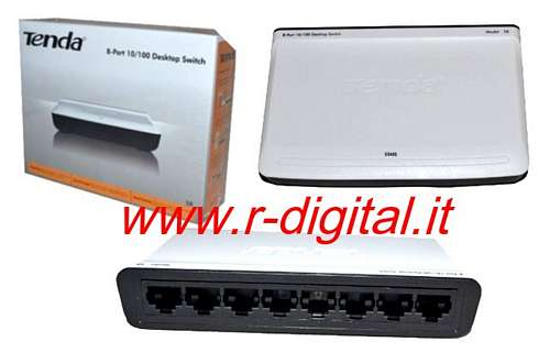 HUB SWITCH TENDA 8 PORTE S8 ETHERNET SDOPPIATORE RETE LAN 100Mbp