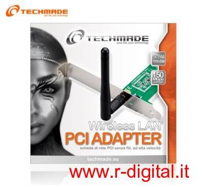 SCHEDA DI RETE TECHMADE WIFI WIRELESS 150 Mbts PCI ORIENTABILE