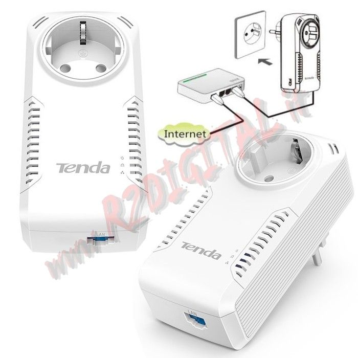 ADATTATORE TENDA P1001P KIT 2Pz POWERLINE RETE LAN ETHERNET
