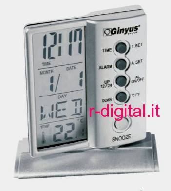 SVEGLIA DIGITALE 7201 TEMPERATURA DATA GINYUS DISPLAY OROLOGIO