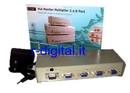 VGA 4 PORTE SPLITTER LINQ TV SDOPPIATORE SWITCH MONITOR