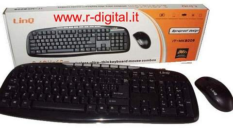 KIT TASTIERA MOUSE MK8006 WIRELESS 2.4GHz MULTIMEDIALE USB PC