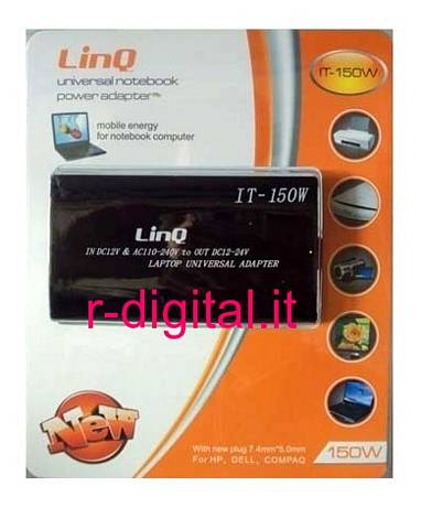 ALIMENTATORE UNIVERSALE 150W NEW LINQ NOTEBOOK CASA AUTO HP DELL