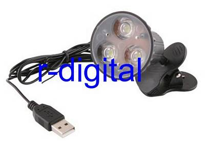 LUCE FARETTO USB LIGHT CLIP POWER LED ALTA LUMINOSITA LAMPADA
