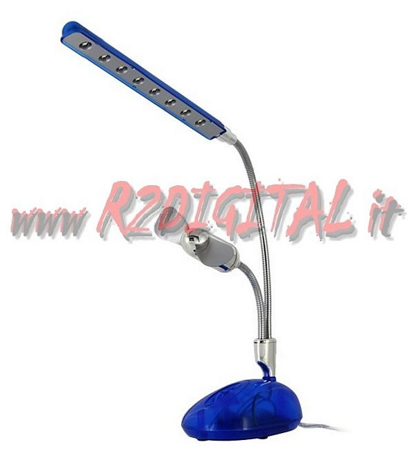 LAMPADA LED USB + VENTILATORE DA TAVOLO LUCE LIGHT PC NOTEBOOK