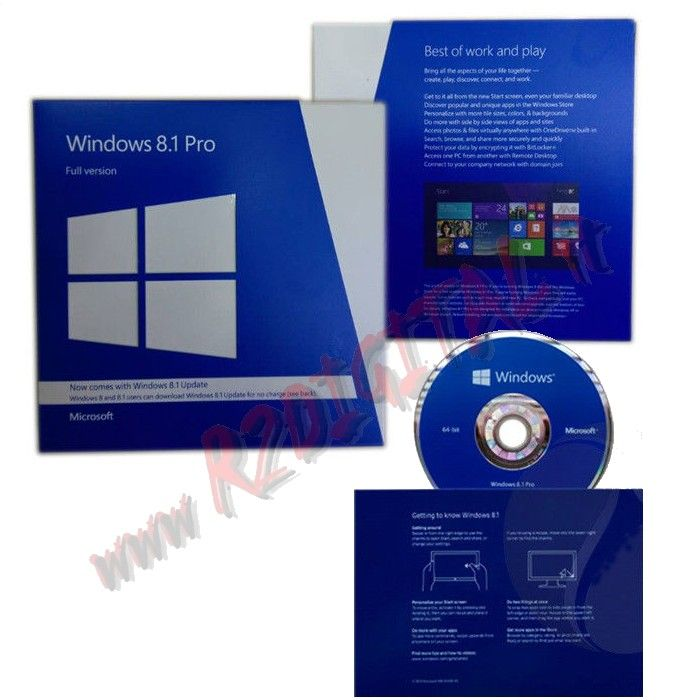WINDOWS 8.1 PROFESSIONAL DVD PACK UPDATE 64 BIT ENG OEM SOFTWARE