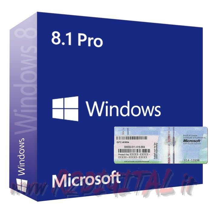 WINDOWS 8.1 PROFESSIONAL DVD STICKER PRO 32 64 LICENZA SOFTWARE