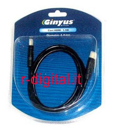CAVO HDMI GINYUS 2 METRI FULL HD 1080P ALTA QUALITA BLIST PS3
