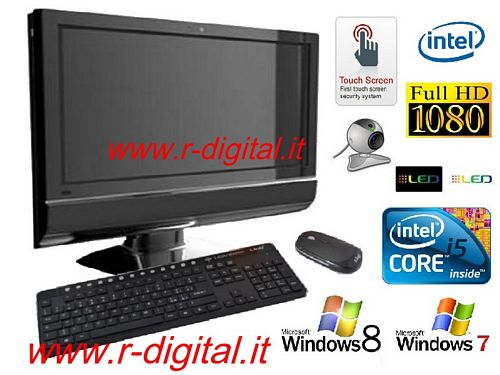 "PC ALL IN ONE 22"" LED TOUCH SCREEN QUAD HDMI RAM 8G HD 2Tb WIFI"