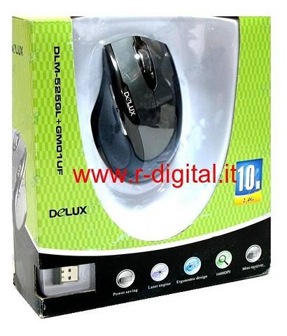 MOUSE LASER DELUX 2.4 GHz WIRELESS USB NANO PER PC NOTEBOOK