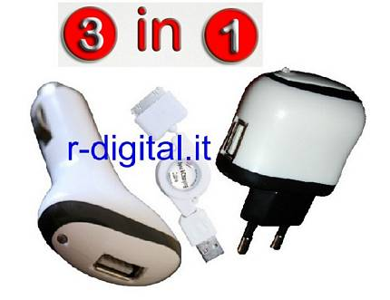 CARICABATTERIE IPHONE 3G 3GS 4 4G KIT 3in1 USB AUTO CASA BIANCO