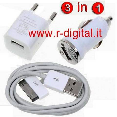 CARICABATTERIE IPHONE 4G 3G 3GS KIT 3 IN 1 USB AUTO CASA BIANCO